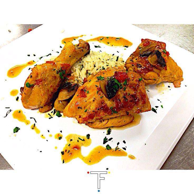 ::: Chicken Sauté Marengo Served With A Creamy White Wine Cilantro Rice Pilaf ::  WISH YOU CAN TASTE IT! ||| #flyfortune #chef #cheflife #truecooks #instafood. #foodporn #finedining #lcb #foodlovers #miamichef #thekitchenVanGogh #miamifoodie