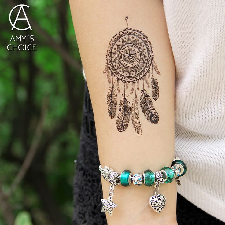 Impermeabile autoadesivo Del Tatuaggio Temporaneo del merletto mandala dreamcatcher dream catcher del tatuaggio di Trasferimento Dell'acqua del tatuaggio di falsificazione flash tattoo