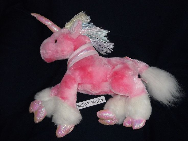 """13"""" iridescent HORN n HOOVES white N pink UNICORN Toy R Us ANIMAL ALLEY PLUSH #NA"""