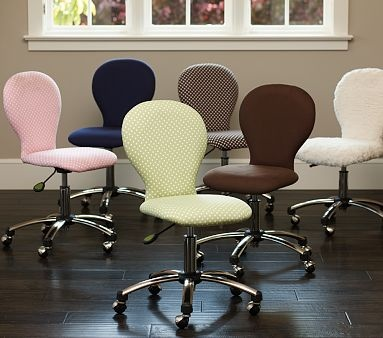Fluffy white desk chair from Pottery Barn Kids