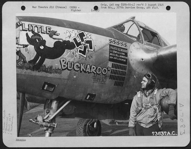 "Lockheed P-38 Lightning  ""Little Buckaroo""  P-38J-25-LO Lightning  s/n 44-23677  392nd FS, 367th FG, 9th AF  Assigned to Maj. Robert C. ""Buck"" Rogers (Squadron Commanding Officer)  Taken on October 12,1944 at Clastres,France (A-71)."