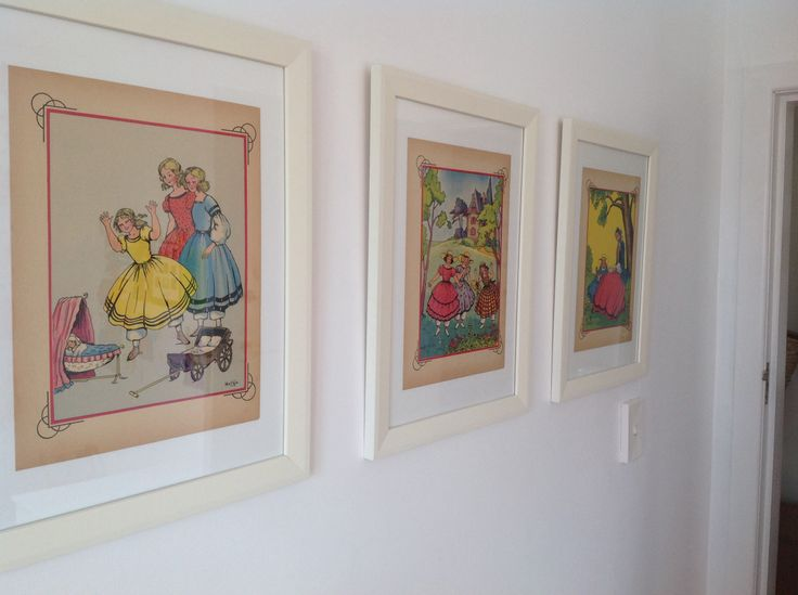 Above the dress up corner 3x 1950s Petites Filles Modeles prints found on a French flea market... Framed without boards to show the old age of paper.