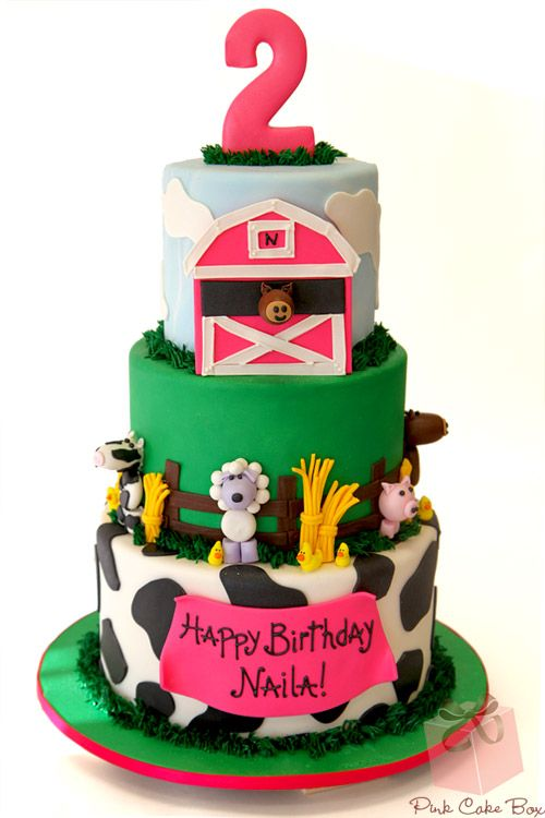 2nd Birthday Farm Animal Cake by Pink Cake Box in Denville, NJ.  More photos at http://blog.pinkcakebox.com/2nd-birthday-farm-animal-cake-2011-09-15.htm  #cakes