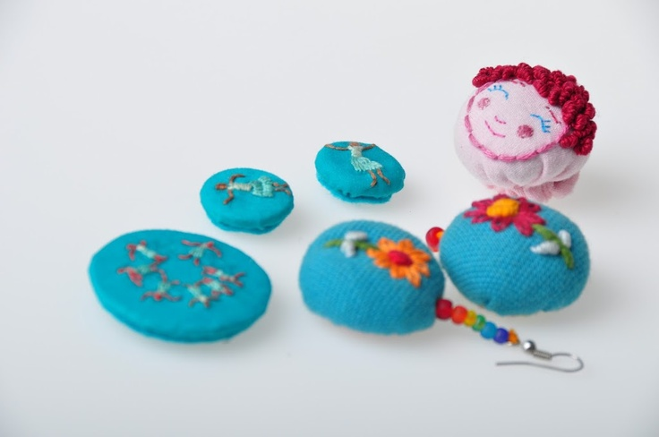Embroidery on earing and button