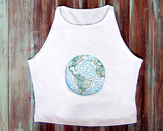 Vintage Earth Crop Top-White Yoga Top-Hipster by ZellyaDesigns