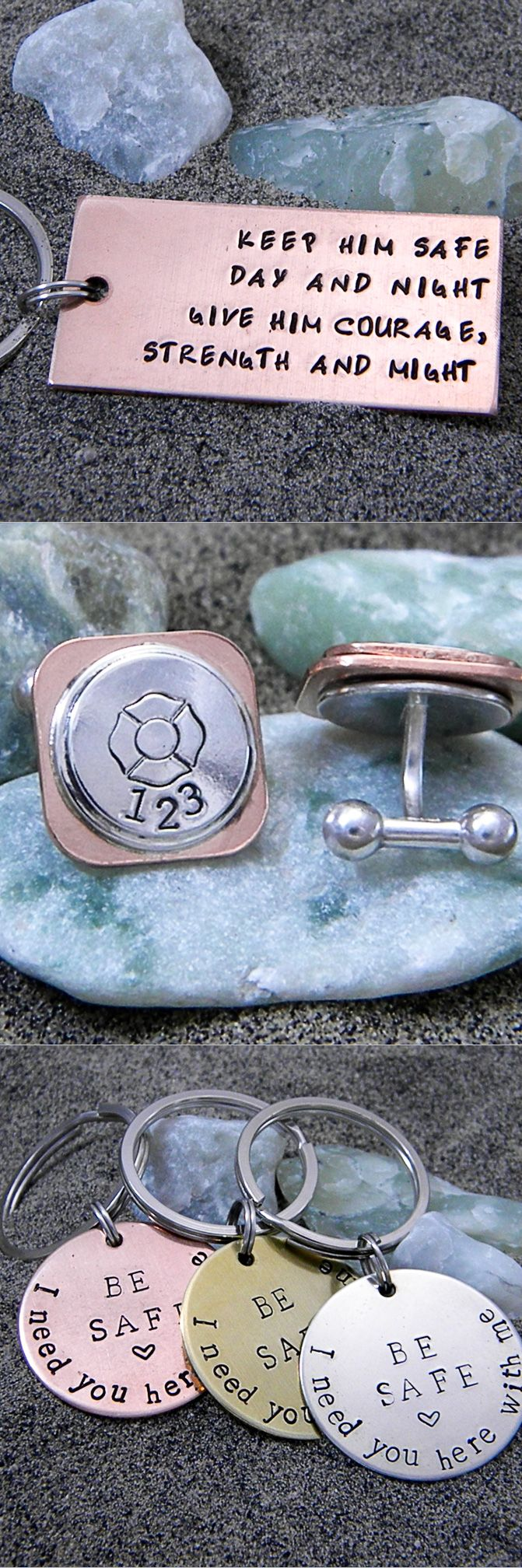 Great gift ideas for the special firefighter in your life.  Keyhains can be personalized with a custom message on the back and cuff links can be personalized with a station number or short name.