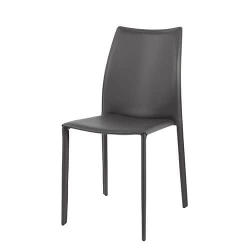 Recycled leather and wood chair in grey