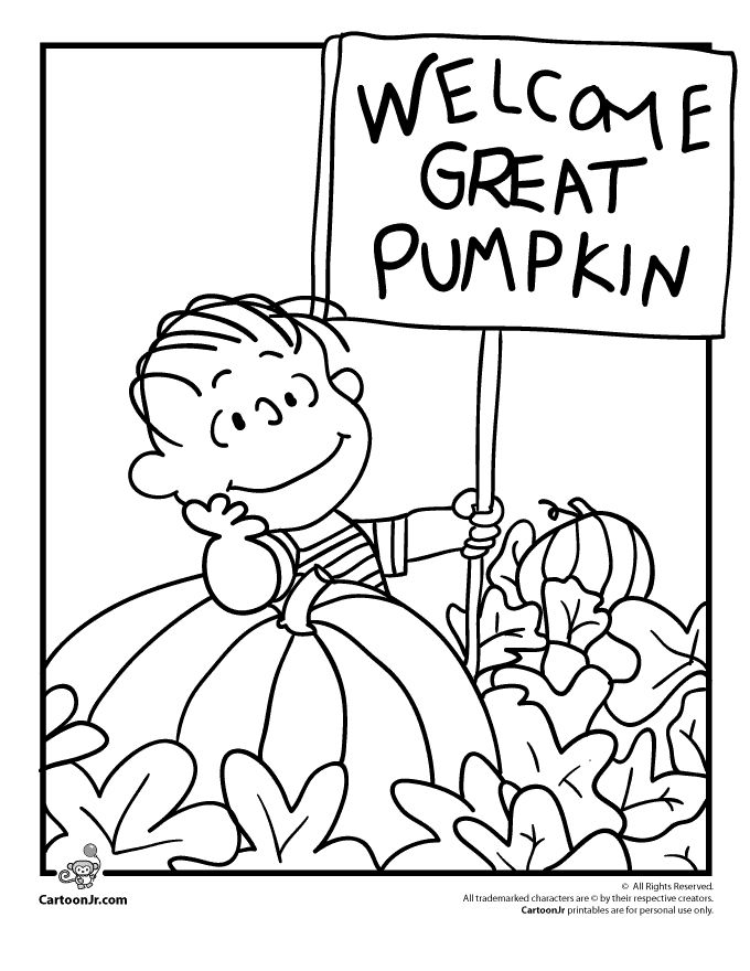 It's the Great Pumpkin Charlie Brown Coloring Pages Linus Waiting for the Great Pumpkin Coloring Page – Cartoon Jr.