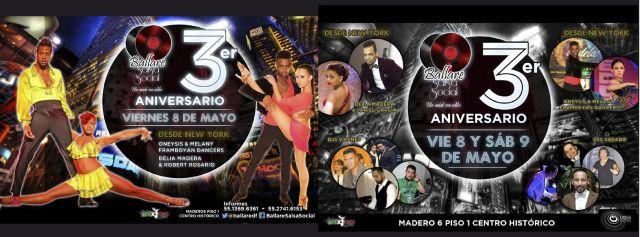 3º Aniversario Ballare Salsa Social | 8 y 9 Mayo | Casa de Madero |  Show by Oneysis & Melany Framboyan Dancers | Delia Madera & Jariel Garcia | Viernes: Dj Boss | Dj Sonaré | Dj Rumbero |Dj Oficial Salsero | Sábado: Dj Mr Swing | Dj Mr Mambo | Dj Ekue – Seatle | Dj Con Sabor a Salsa