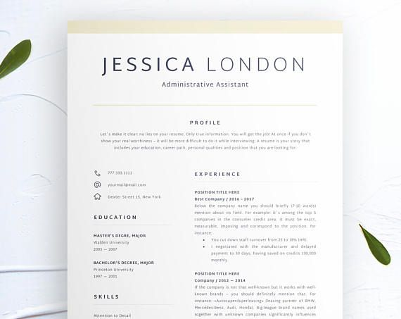 Professional Resume Template Instant Download Administative Resume