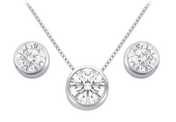 Bezel Set CZ Pendant and Stud Earrings Sets in Rhodium Treated .925 Sterling Silver 3.00 CT TGW