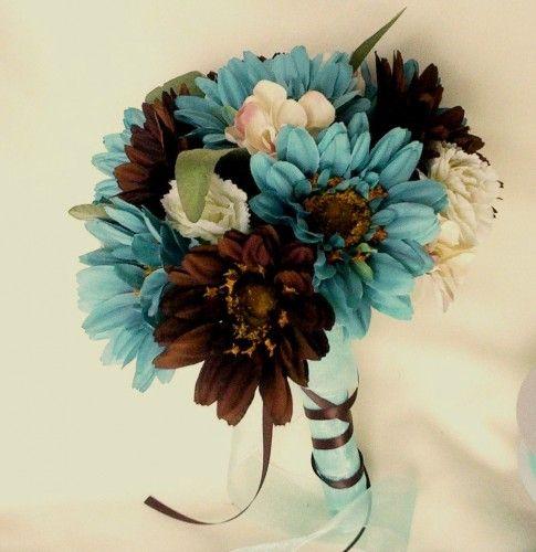 Turquoise Bridal Bouquets Package Chocolate Gerberas custom wedding Flowers