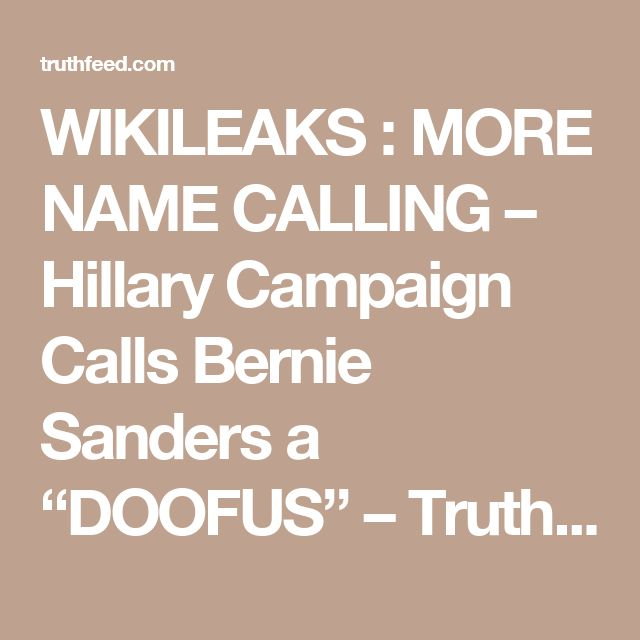 "WIKILEAKS : MORE NAME CALLING  – Hillary Campaign Calls Bernie Sanders a ""DOOFUS"" – TruthFeed"