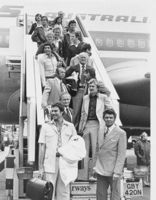 Members of the Australian cricket team pictured on arrival at Heathrow with their captain, Greg Chappell, in front.