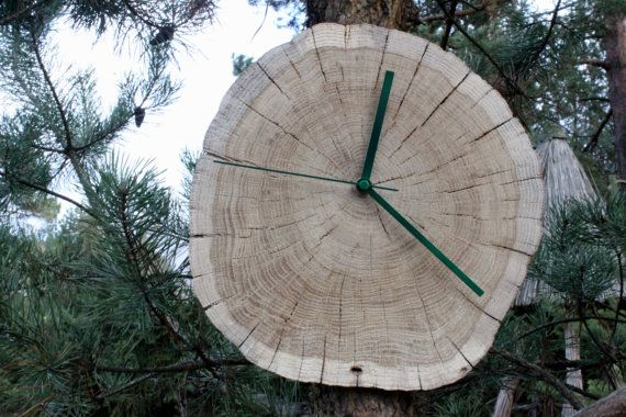 Old stump rustic clock Natural/ Wall clock by by wildbeargoods