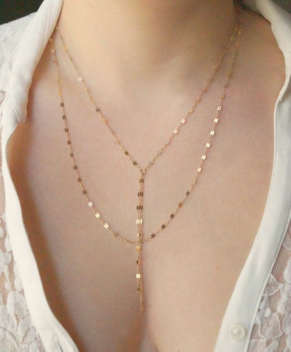 Gold Double Strand Y Necklace Delicate by WanderandLustJewelry