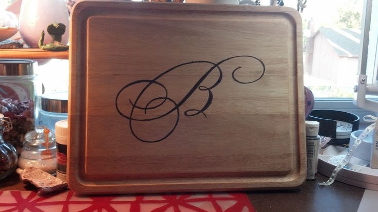 I thought this was a great idea. Not too bad for my first wood burning project. Just printed out the letter off my printer & traced over it as hard as I could with a pencil. It made an indentation that I was able to see & follow with the wood burner.