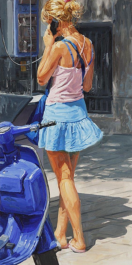"""Phone Box"" - Michele Del Campo (Italian, b. 1976), oil on panel {figurative art blonde female standing back woman painting} micheledelcampo.com"