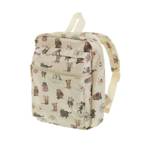 A beautiful little oilcloth rucksack; perfect for adventures.  Our flagship fabric design consists of all the characters at Not Before Tea including Pip the Mouse and Vera Vole.  You will love this because:  - There is a front pocket for smaller items and a larger main compartment. - The back straps are padded for comfort and fully adjustable. - Each bag comes with a card, so that you know who all the characters on the design are - The oilcloth fabric makes this bag extremely hard wearing…