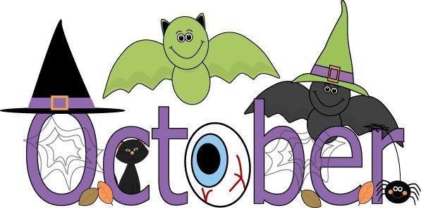 Fun month of October Halloween scene clip art