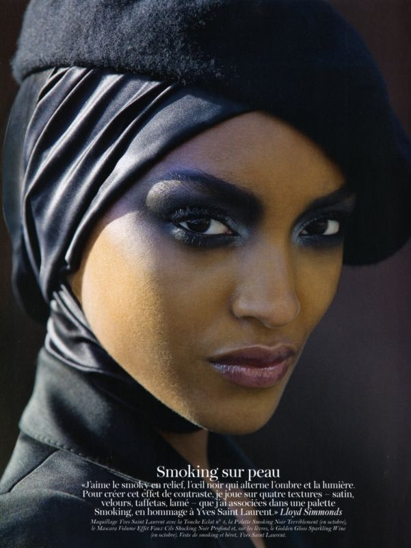 somali model with head wrap and beret