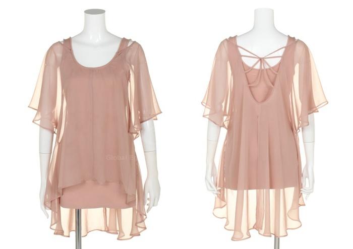 Charming Solid Color Irregular Hem Twinset Design Chiffon Dress For Women (APRICOT.L) China Wholesale - Sammydress.com | Sammy dress. Dresses ...