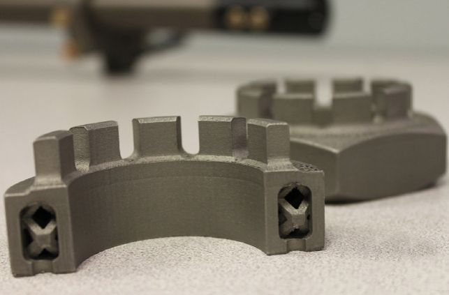 Imperial Machine & Tool Co. 3D printed this titanium nut for the M777 Howitzer, a military's ultra-lightweight cannon. Instead of a solid core, they used a lattice structure with the advantage of maintaining strength while reducing weight.