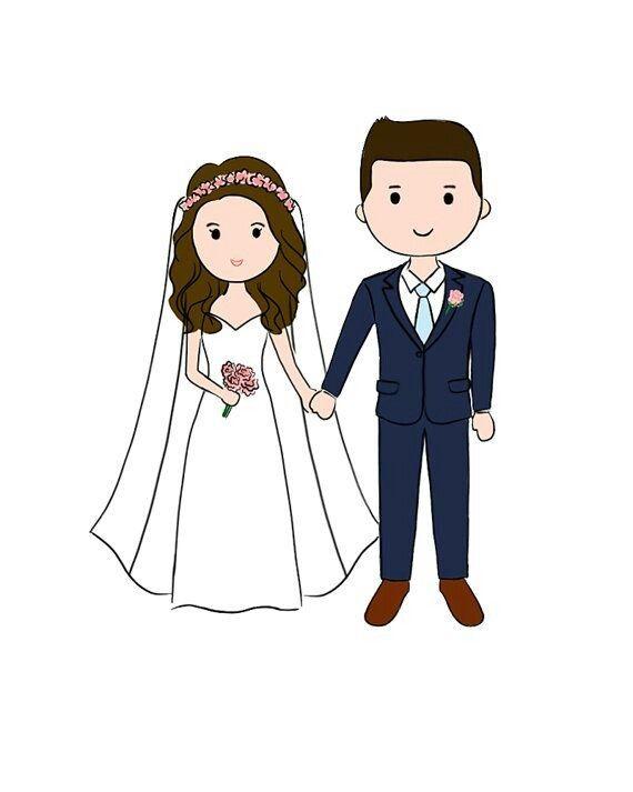 Pin By Goreti Silva On Wedding Clip Art Wedding Couple Cartoon Wedding Couples Couple Illustration
