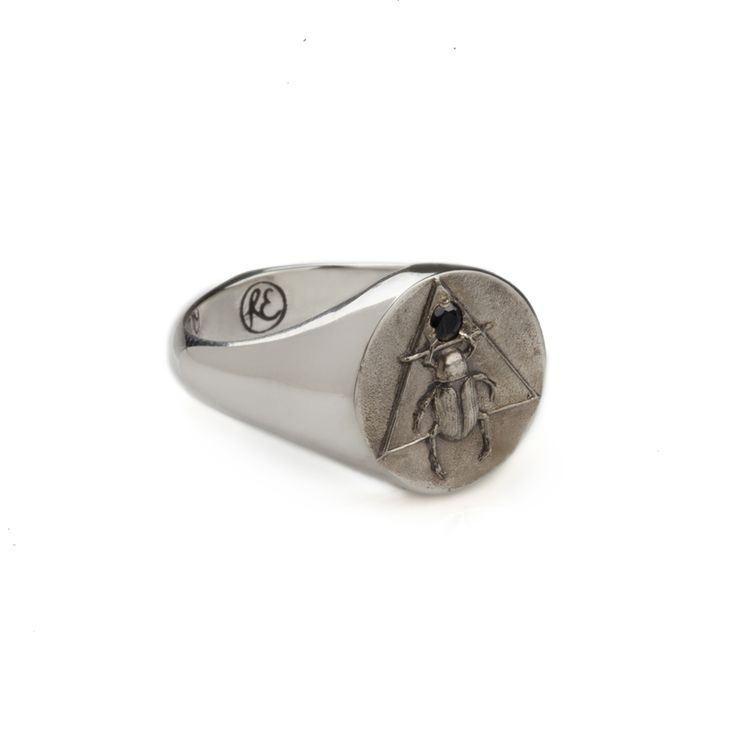 silver scarab signet ring in black sapphire shinny