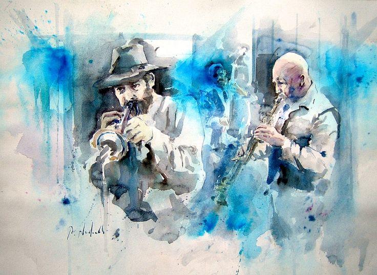 """""""Preludio a un Blues"""" Acquerello cm. 36x51"""