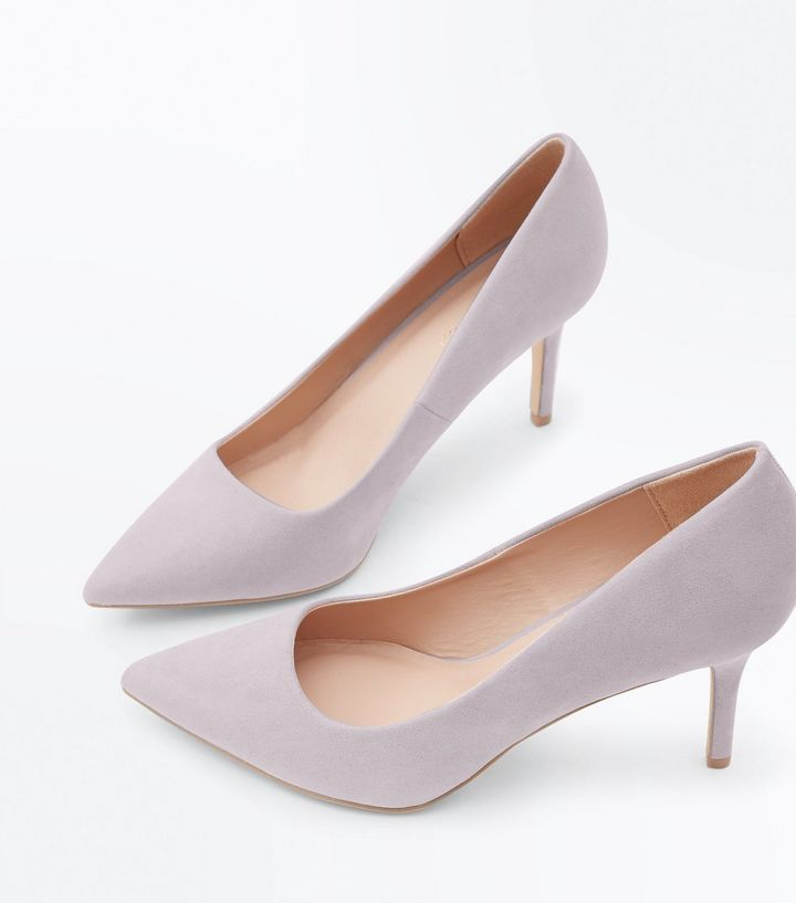 Grey Suedette Pointed Court Shoes | New Look