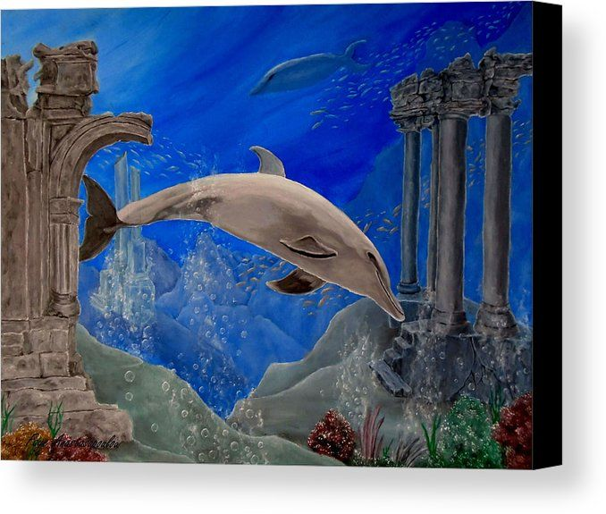 Canvas Print, Painting, dolphin,underwater,world,scene,wildlife,fish,seascape,arches,ruins,temples,marine,animal,aquatic,life,fins,sunk,ancient,saltwater,ocean,sea,deep,bottom,floor,nature,corals,reefs,bubbles,colorful,aqua,blue,turquoise,submerged,seabed,beautiful,awesome,cool,amazing,fantastic,realistic,in,of,under,the,oil,images,artworks,fine art america,ocean splendor