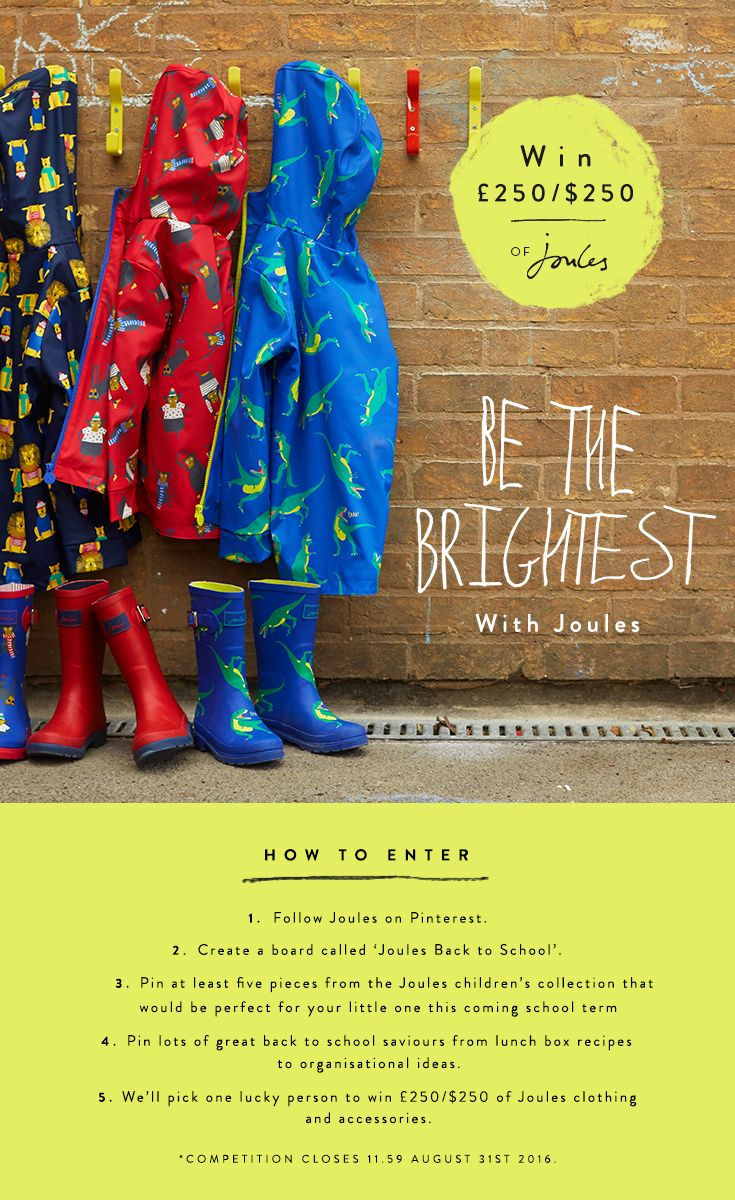 WIN £250/$250 of Joules!  Go back to school in style with Joules. How to enter…