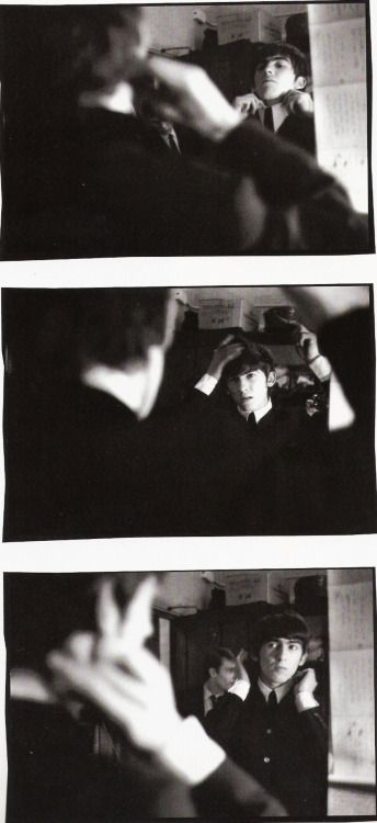 thateventuality: Scan - George Harrison getting ready backstage, December 1963 or January 1964 Photo: Terence Spencer