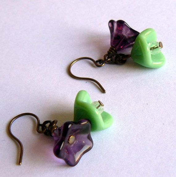 Pistachio Green and Purple earrings by studioCapucine | £10