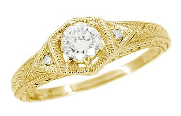 Art Deco Filigree Wheat and Scrolls Diamond Engraved Engagement Ring in 18 Karat Yellow Gold $1,730.00 http://www.antiquejewelrymall.com/r407y.html
