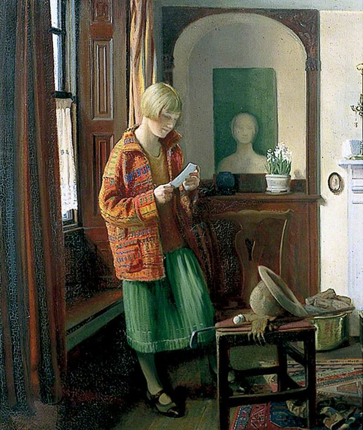 'The Coat of Many Colours'( 1926) by English painter Louis Ginnett (1875-1946). Painter primarily of portraits and interiors, a mural painter and a designer of stained glass.