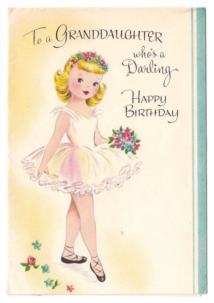 Vintage Greeting Card Birthday Cute Little Girl Ballet Dancer Ballerina 1950s