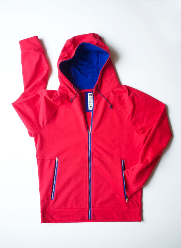 Red Mississippi zippered hoodie for cyclist men, by Urban Legend on www.narvalmarket.com