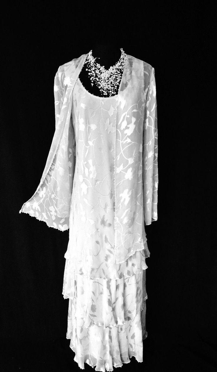 ❤ Wedding ❤  Mother of the Bride / Groom? Mature Bride?  Wedding Guest?  CAMERON BLAKE Mon Cheri Designer Silver Silk Devore Wedding Dress & Jacket Outfit  http://www.genevives-boutique.co.uk/