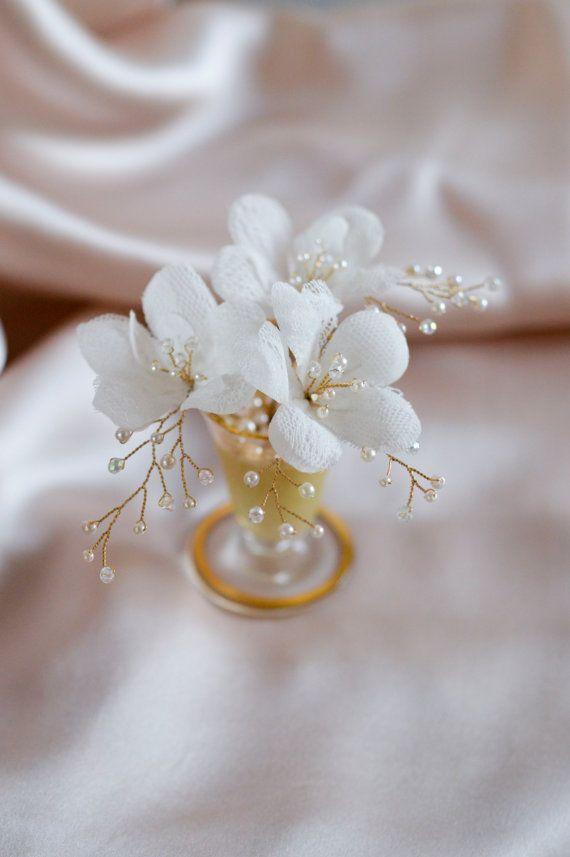 Silk Wedding Flowers - Bridal Hair Pins - Wedding Hair Accessories - Floral Headpiece - Vintage Hair Accessories - Crystal Flowers  -