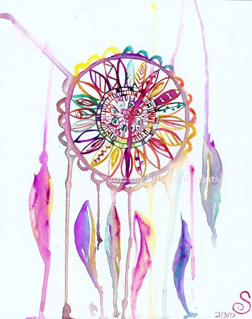 "Dream Catcher Watercolor Illustration Painting- 4"" x 6 ..."