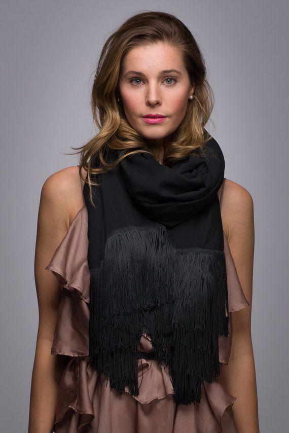 Black with Fringe Scarf Soft Lightweight by WICKandPoppy on Etsy, $96.20