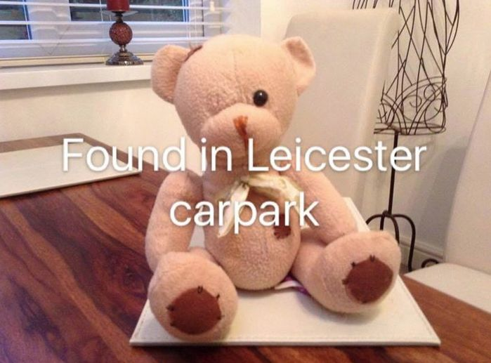 Teddy Bear found in  the Meridian car park in Leicester. Contact here if yours: https://www.facebook.com/leicestermercury/photos/a.394182567295964.84538.394174993963388/947823321931883/?type=3