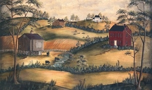 Pin by cheryl ohms on country primative colonial murals for Colonial mural wallpaper