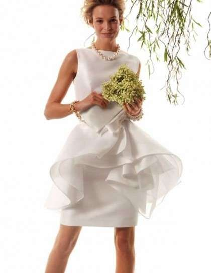 Minidress bridal con volant, in seta bianca
