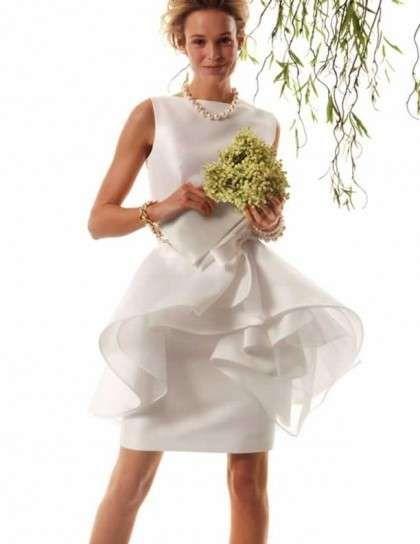 Minidress bridal con volant, in seta bianca