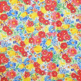 Tela Lycra Estampada Acuarela Floral Roja