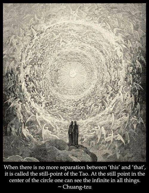 When there is no more separation between 'this' and 'that,' it is called the still-point of the Tao. At the still point in the center of the circle one can see the infinite in all things. ~ Chuang Tzu