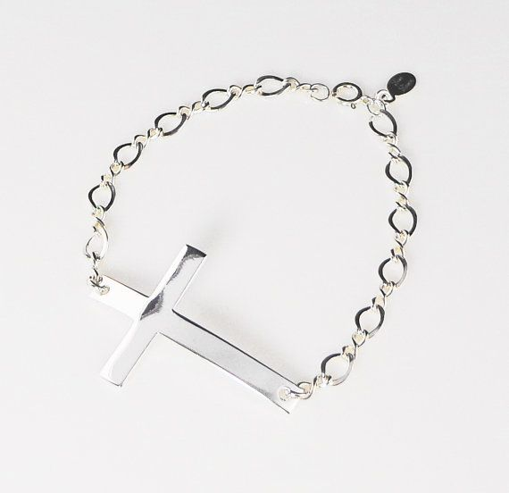 Large Sideways Cross Bracelet  Horizontal Sterling